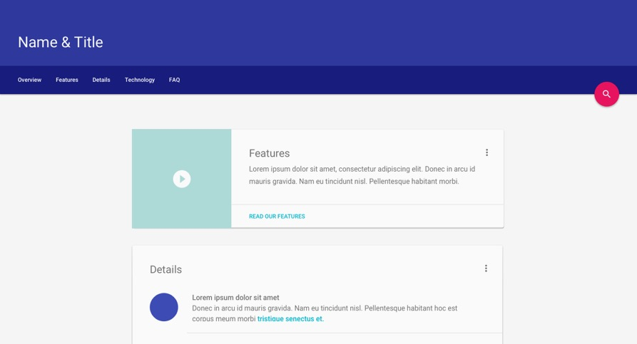 Material design lite for Google sites faq template